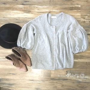 Anthropologie Cropped Oversized Bell Cardigan